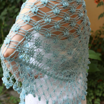 Wedding shawl in soft blue, crochet shawl, lace shawl