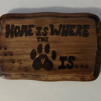 Gift-for-her  Dog lovers home decor sign | cute paw tracks sign Gift-for-her | dog lovers rustic wood burned sign | dog lover gift-for-her
