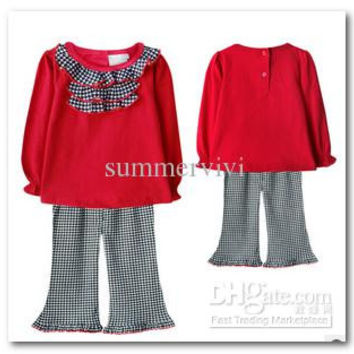 Autumn new children suits baby girls red plaid Frilly long sleeve t-shirt+plaid Flared trousers 2pcs sets toddler kids costumes 1571