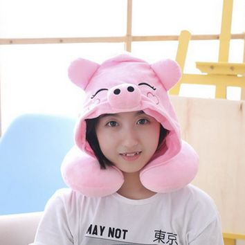 Urijk super cute plush toy cartoon melody pig bear U shape neck pillow hooded cap creative birthday gift Neck protection