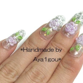Nails, 3D nail, Japanese nail, fake nails, gyaru, Harajuku, rose, floral, flower, kawaii, lolita fashion, egl, wedding nail, bridal nail