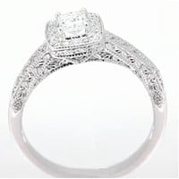 Cubic Zirconia Engagement Ring- 0.82 TCW Cushion Cut Halo with Antique Style Engraving