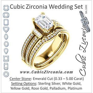 CZ Wedding Set, featuring The Kaitlyn engagement ring (Customizable Emerald Cut with Flanking Baguettes And Round Channel Accents)