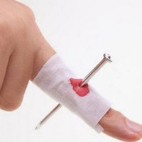 Nailed Bloody Finger Halloween Gag and Costume Party Prop