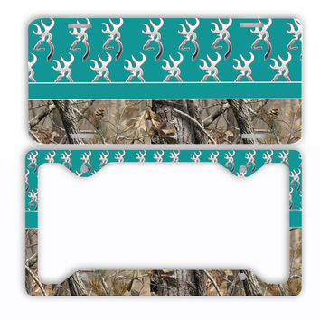Turquoise Browning Camo License Plate Frame Car Tag Country Hunting