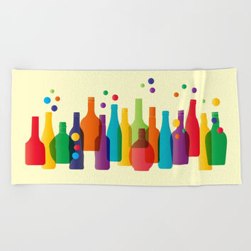 Colored bottles Beach Towel by Graf Illustration