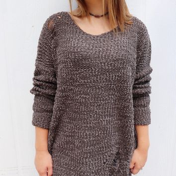 Distressed Boat Neck Sweater
