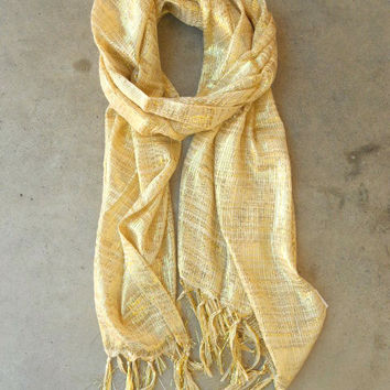 Sparkling Golden Lurex Knit Scarf