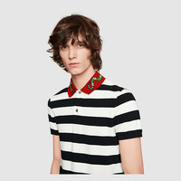 Gucci Cotton polo with Kingsnake embroidery