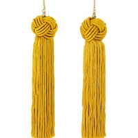 Astrid Knotted Tassel Earrings in Yellow by Vanessa Mooney