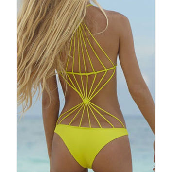 FASHION SEXY PURE COLOR SWIMSUIT