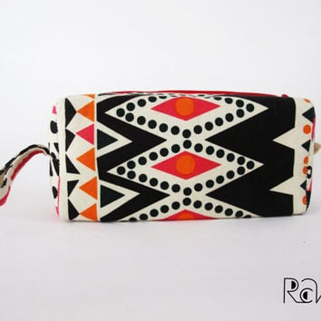 Tribal aztec makeup bag - zipper box pouch - Water Resistant Makeup Bag - Modern Make Up Purse or Pouch - pencil case
