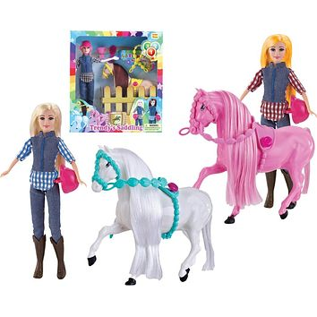 Trendy's Saddling Light Skin Fashion Doll with Horse Playset - Assorted - 18 Units