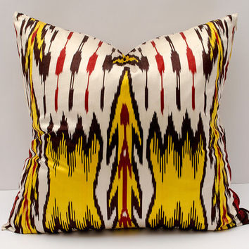 20x20 ikat pillow cover, yellow red golden white yellow red pillow cover cushion case, pillowcase, pillow cover