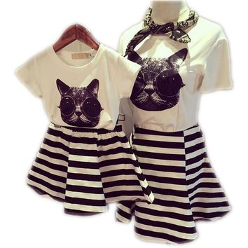 Family Clothes Sets Matching Mother And Daughter Dress Summer Short-Sleeve 2pcs T-Shirts +Striped dress Mom and Gilrs Dresses