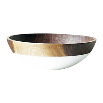 Salad and Fruit Serving Bowl,  Large Color Dipped WALNUT Wood