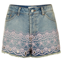 MOTO Embroidered Hotpants - Denim - Clothing - Topshop USA