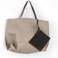 Reversible Faux Leather Tote Purse with Removable Mini Bag 4441