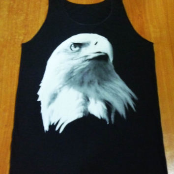 Tank Women Men Tshirt Eagle Animal Print Pop Rock Unisex Tank Top Shirt Black Size M Crop Top