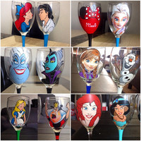 Two Hand Pianted Disney Wine Glasses : your choice of characters