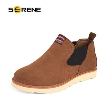 SERENE New Arrival Serene Autumn & Winter  Men British Martin Boots Retro Leather Chelsea Boots Flat With Free Shipping 3235