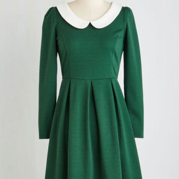 Vintage Inspired Mid-length Long Sleeve A-line Record Store Date Dress in Forest