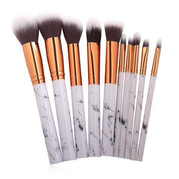 10Pcs Marble Make Up Brushes
