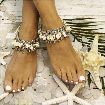 BEACH GYPSY - ankle bracelet - silver shells