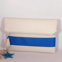 Clutch wedding for bride, Evening clutch bag, foldover leather clutch, cream leather purse, gift for bridesmaids, wedding blue clutch bag