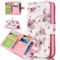 Wallet Case For iPhone 7 6S Plus 5S SE 5c Cover Fashion Flip Leather Cases Stand Printed Magnetic Purse 9 Card Holder Phone Bag