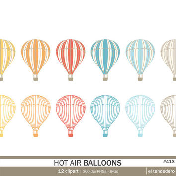 "Hot air balloon clipart pack ""hot air balloons"", with hot air balloons illustrations, to use in scrapbooking, card making.."
