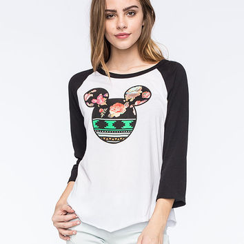 Neff Disney Collection Aztec Floral Mickey Womens Raglan Tee White/Black  In Sizes