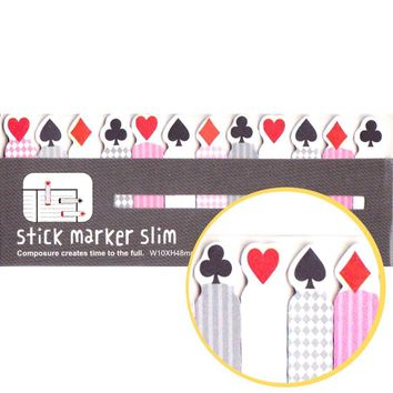 Heart Diamond Clovers and Clubs Shaped Playing Cards Themed Sticky Post-it Memo Bookmark Tabs