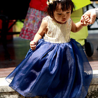 Girl's Dress, Gold and Navy Flower girl's dress, Party Dress, Toddler Dress, Baby Dress