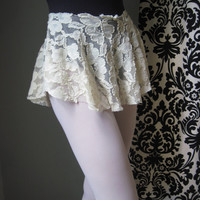 Stretch Lace Ballet Skirt, Dance Skirt in Ivory Rose Lace