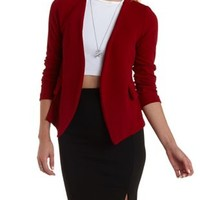 Burgundy Collarless Long Sleeve Blazer by Charlotte Russe