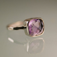 Amethyst Ring - Gemstone Ring - Sterling Silver Amethyst Bezel Ring - Mother's Day Gift