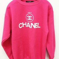 CHANEL Trending Women Casual Long Sleeve Letter Print Sport Pullover Top Sweater Sweatshirt Rose Red I