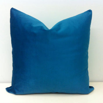 Peacock Blue Velvet Pillow Cover,Blue Pillow,Decorative Pillow Cover,Throw Pillow,Velvet Pillow,Velvet Cushion Cover,Blue Throw Pillow Cases