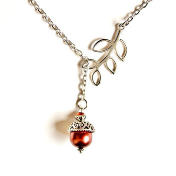 Acorn Necklace Nature Jewelry Brown Glass Pearl and Silver Plated Leaf Branch