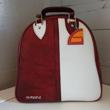 Vintage, Bowling Bag, Bowling Accessory, Bowling, Maroon and White, Retro, Sporting Goods, Photography Prop, Gladding, RhymeswithDaughter