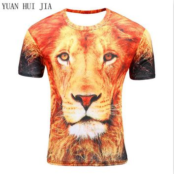 selling New  mpression style men/women 3d T-shirt printing watercolor lion animals summer cool slim t shirt tops tees Asia size