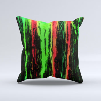 The Running Neon Green and Coral WaterColor Paint ink-Fuzed Decorative Throw Pillow