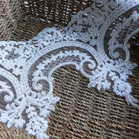 "Ivory alencon lace delicate floral embroidered lace wedding dress fabric trim 9.44"" wide 1 yard"