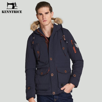 Men Winter Mens Thick Warm Coat With Faux Fur Hood Solid Blue Jacket Man Buttons Large Siz