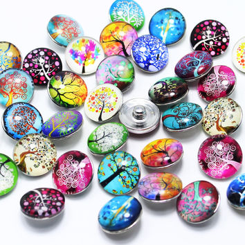 10pcs/lot Mixed glass dome cabochon 18mm Snap Buttons Fit ginger snaps jewelry DIY snaps buttons Bracelets GS1112048-MIX