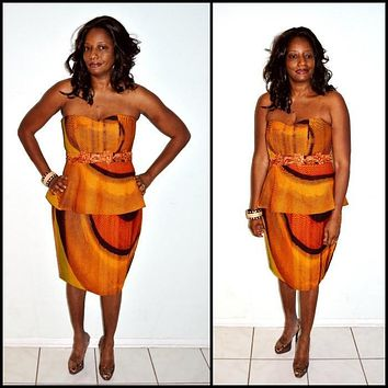 Brown And Orange African Ankara Print Strapless Dress