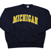 Vintage 90s University of Michigan Crewneck Sweatshirt Made in USA Mens Size Large