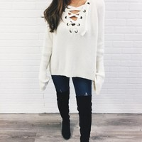 Laced in Love Sweater - White