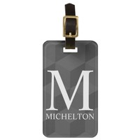 Qubed Black Monogrammed Luggage Tag